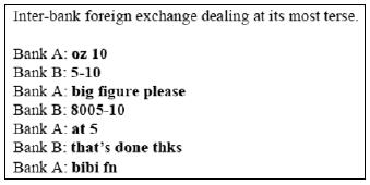 Inter-bank foreign exchange dealing